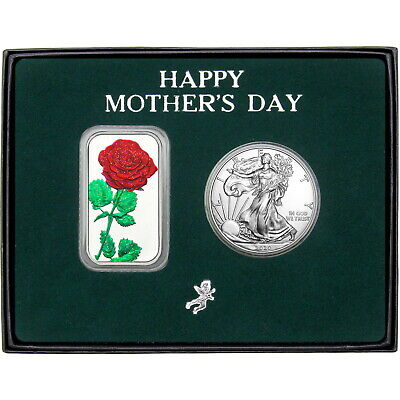Happy Mother's Day Enameled Red Rose Silver Bar and Silver American Eagle 2pc Se