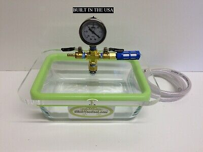 3 QT - Rectangular Pyrex Glass Vacuum  Chamber+ With SlickVacSeal