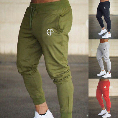 Men Slim Fit Jogger Sports Gym Bodybuilding Running Track Trousers Sweatpants