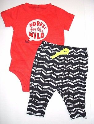 800323aeea2f CAT   JACK Baby Boy Red Shirt No Rest for the Wild Zig-Zag Pants 0-3 ...