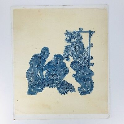 """Vintage Thai Temple Rubbing on Rice Paper Blue Asian Rooster Cock Fight 26"""" x22"""""""