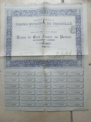 Casino Municipal De Trouville Action De 100 Francs Au Porteur 1911-  30 Coupons