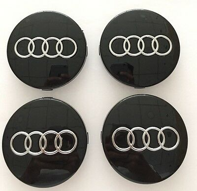 4x AUDI BLACK ALLOY WHEEL CENTRE CAPS 60MM FIT: A1 A2 A3 A4 A5 A6 TT RS Q3 Q7