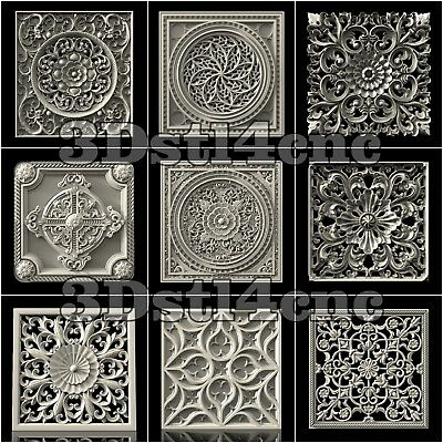 9 3D STL Models Wall Panels for CNC Router Carving Machine Artcam aspire Cut3D