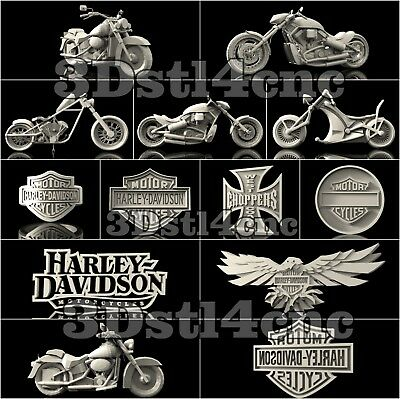 13 3D STL Models Harley Davidson for CNC Router Carving Machine Artcam aspire