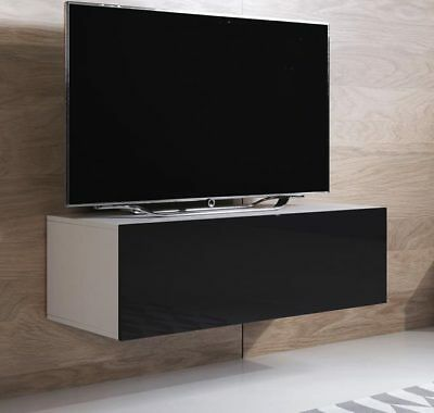 Mueble TV modelo Luke H1 (100x30cm) color blanco y negro