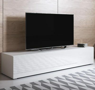 Mueble TV modelo Luke H2 (160x32cm) color blanco con patas estándar