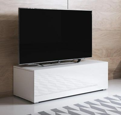 Mueble TV modelo Luke H1 (100x32cm) color blanco con patas estándar