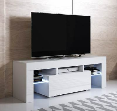 Mueble TV modelo Elio (130x45cm) color blanco con LED RGB