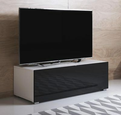 Mueble TV modelo Luke H1 (100x32cm) color blanco y negro con patas estándar