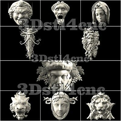 9 3D STL Models Mascarones Decor for CNC Router Carving Machine Artcam aspire