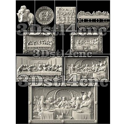 9 3D STL Models Religion Panel Set for CNC Router Carving Machine Artcam aspire