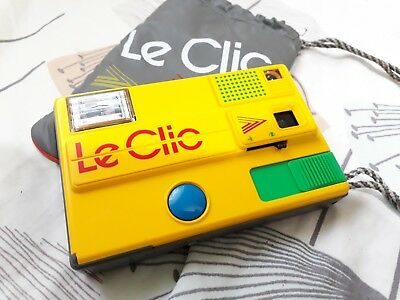 Vintage LE CLIC DISK CAMERA YELLOW RETRO & CASE FULLY WORKING EXCELLENT