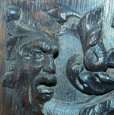 Pair Early 16th Century Oak Panels - Green Man and Lions Heads - circa 1540