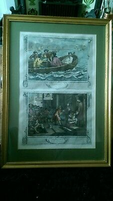 19th Century Hand Coloured Engraving The Idle Prentice Plates 5 & 6 Hogarth