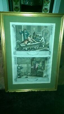 19th Century Hand Coloured Engraving The Idle Prentice Plates 3 & 4 Hogarth
