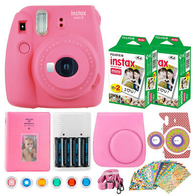 Fujifilm Instax Mini 9 Instant Camera (Flamingo Pink) + Instax 40 + Case + Album