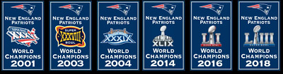 NEW New England Patriots NFL Super Bowl Champions 6 Banner Set 6x Champs 12x18