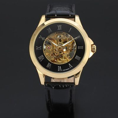 2017 Fashion Roman Numbers Design Genuine Leather Strap Gold Case Men Watch Top