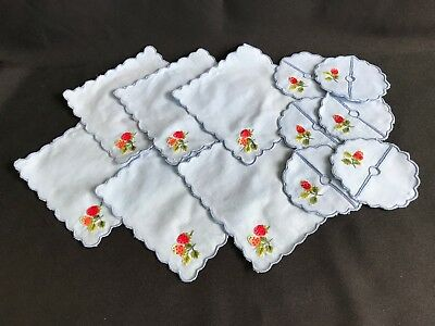 Lot of 6 Vtg Blue Embroidered Strawberry Luncheon Tea Napkins Matching Coasters