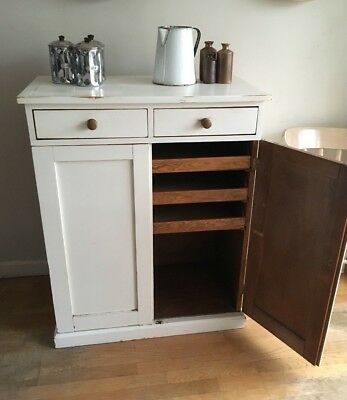Antique Pine Linen Cupboard Vintage French Drawers Painted Shop Kitchen Cabinet