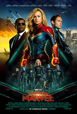 "Captain Marvel Poster 48x32"" 36x24"" 21x14"" Movie Brie Larson 2019 Print Silk #1"
