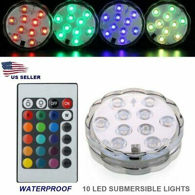 RGB Submersible LED Lights Waterproof Color Changing w/ Remote Battery Op USA