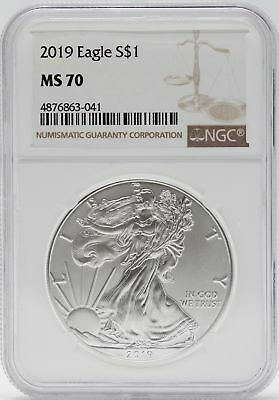 2019 American Silver Eagle 1 Oz NGC MS70 $1 Coin Brown Label Certified JB566