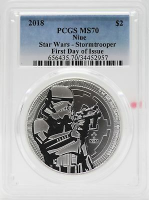 2018 Niue Stormtrooper Star Wars 1 Oz Silver PCGS MS70 $2 First Day Issue JB567