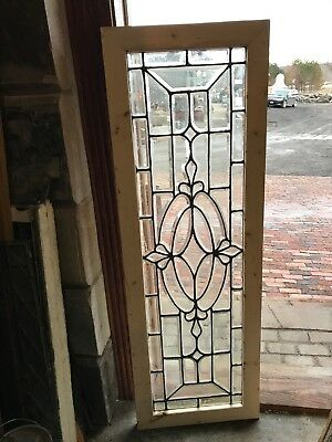 Sg 2589 Antique All Beveled Glass Transom Window 20 X 59.25