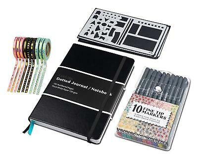 Journal Set - Dotted Bullet Notebook,  Fineliners, Stencils And Washi Tapes