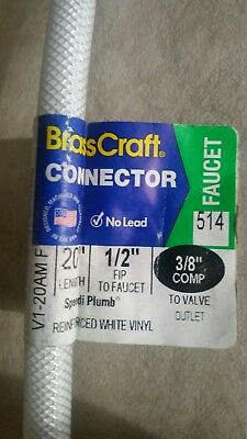 """10 Water Supply Hose Lines 1/2"""" FPT x 3/8"""" Comp 20""""; Sink/Faucet Connectors"""