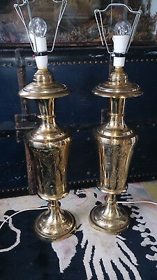 Large Pair of Antique Middle Eastern Brass Table Lamps