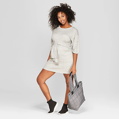 828e512d064 TARGET Isabel Maternity Tie Front Sweater Dress GRAY (Black Heathered  White) XXL