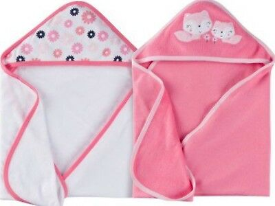 GERBER NEWBORN BABY Girl S 2 Pack Cotton Poly Hooded Towels Pink Fox NWT
