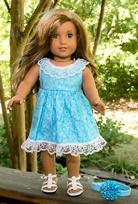 """Handmade American Girl Doll Clothes, Blue Hearts Dress w/Bloomers, Fits Lea, 18"""""""