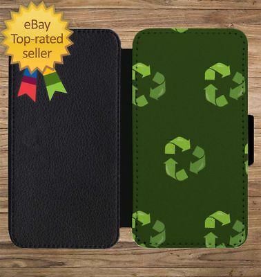 Earth Day Recycle Print Pattern Wallet Phone Case for iPhone 5 6 7 8 X XS Max XR