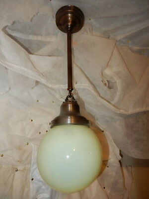 Art Nouveau Brass Ceiling Light with LARGE Vaseline Opalescent Glass Shade