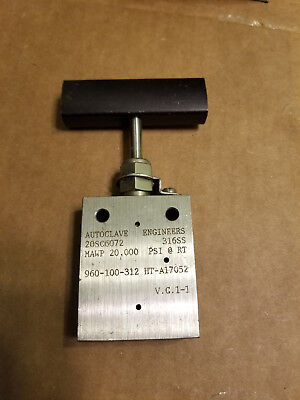 "3/8"" Medium Pressure Needle Valve - Autoclave Engineers - 20000psi two-way angle"