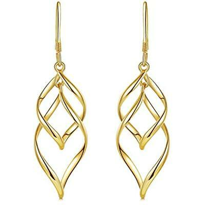 Drop & Dangle Yellow Gold Plated Classic Twist Wave Earrings, Sterling Silver