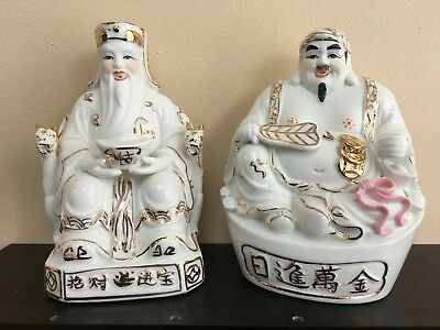 """1Pair Chinese Fengshui Land Mammon Money Wealth God Buddha Statues 6""""H"""