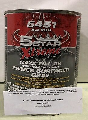 5 Star 2K High Build Urethane GRAY Primer w/Activator Quart Kit PPG AXALTA NASON