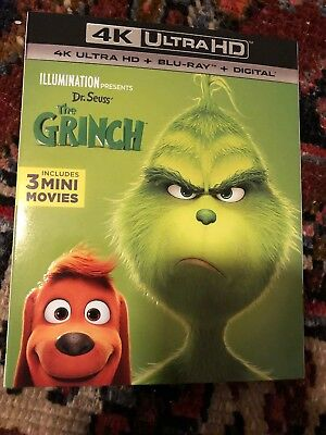 Dr. Seuss' The Grinch 4K (4K UHD Blu-ray, 2018) With Slip Cover No Digital