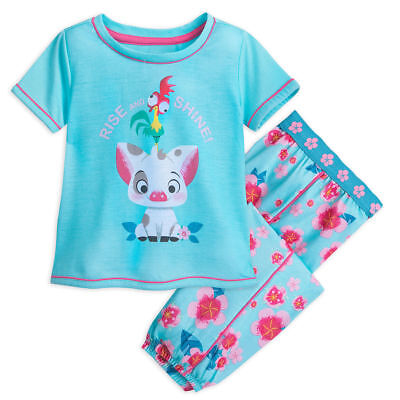 Disney Store Moana Pua and Hei Hei Pajamas PJ Set Girls Size 5/6 7/8 New
