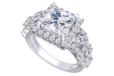 Sterling Silver 925 Princess Cut Cubic Zirconia Halo Engagement Ring