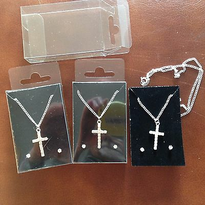 JOB LOT-3 sets of crystal diamante cross pendants+0.4cm earrings.Gift boxed.