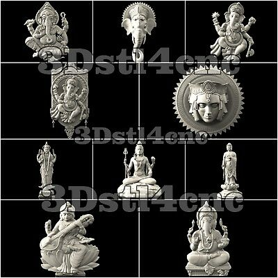 10 3D STL Models Religion India for CNC Router Carving Machine Artcam aspire