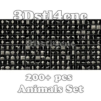 200+ 3D STL Models Animals Set  for CNC Router Carving Machine Artcam aspire