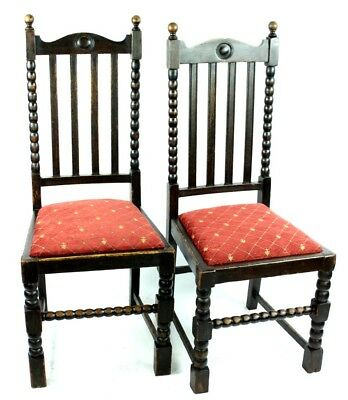 Pair of Antique Oak Dining Chairs  - FREE Shipping [PL4898]