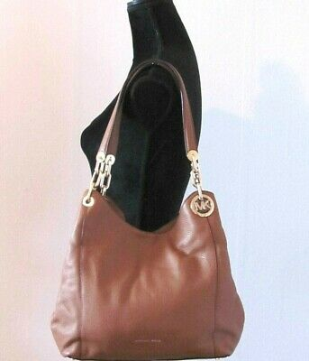 0a5540ca2d79 NWT MICHAEL KORS Brown Large Charm Leather Tote Shoulder Handbag w/ Dust Bag